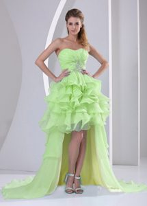 Yellow Green Organza High-low Natural Beauty Pageants Dresses under 150