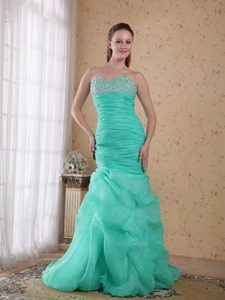 Beautiful Turquoise Ruched and Beaded Ruched Pageant Girl Dress for Fall