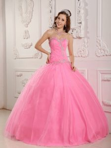 Fabulous Appliqued Rose Pink Tulle Beaded Pageant Dresses for Miss USA