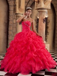 Sweetheart Floor-length Organza Red Wonderful Pageant Dresses for Girls