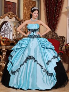 Elegant Baby Blue and Black Lace-up Taffeta Pageant Dress with Appliques