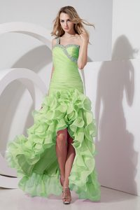 Luxurious Yellow Green High-low Beaded Youth Pageant Dresses for Spring