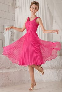 Attractive Hot Pink Tea-length Organza Miss USA Pageant Dress with Straps