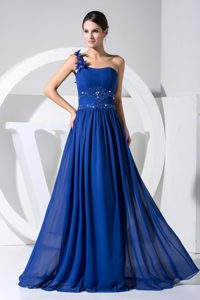 One Shoulder Royal Blue Floor-length Pageant Dresses with Beading and Flowers