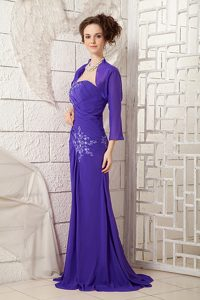 Strapless Brush Train Purple Ruched Pageant Dresses with Appliques and Jacket