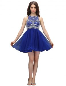 Traditional Royal Blue A-line Beading Pageant Dress for Womens Zipper Organza Sleeveless Mini Length