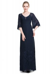 Graceful Half Sleeves Chiffon Floor Length Zipper High School Pageant Dress in Navy Blue with Appliques