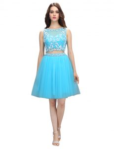 Perfect Empire Pageant Dress for Teens Baby Blue Scoop Tulle Sleeveless Knee Length Backless
