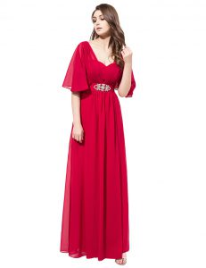 Coral Red Satin Zipper Pageant Dresses Half Sleeves Floor Length Beading