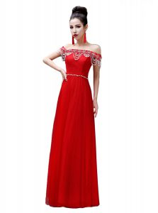 Sophisticated Off the Shoulder Sleeveless Floor Length Beading Lace Up Evening Gowns with Red