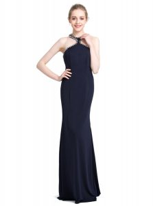High-neck Sleeveless Pageant Dress for Teens Floor Length Beading Black Chiffon