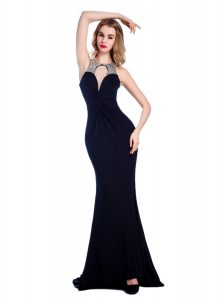 Beautiful Black High-neck Neckline Beading Pageant Gowns Sleeveless Criss Cross