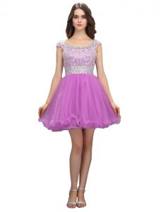 Lilac Organza Zipper Pageant Dress for Girls Cap Sleeves Mini Length Beading
