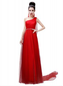 Customized Coral Red One Shoulder Side Zipper Sashes ribbons and Belt Pageant Dress Wholesale Sleeveless