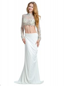 Custom Fit White Two Pieces High-neck Long Sleeves Chiffon With Brush Train Backless Beading and Lace and Appliques Pageant Dress Wholesale