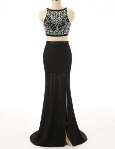 Scoop Beading Winning Pageant Gowns Black Zipper Sleeveless With Brush Train