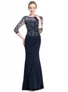 3 4 Length Sleeve Beading and Appliques Zipper Winning Pageant Gowns
