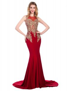 Scoop Lace and Appliques Pageant Dress Womens Wine Red Side Zipper Sleeveless With Brush Train