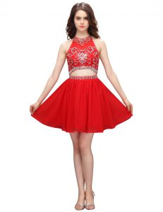 Fashion Coral Red Sleeveless Organza Zipper Pageant Gowns for Prom and Party