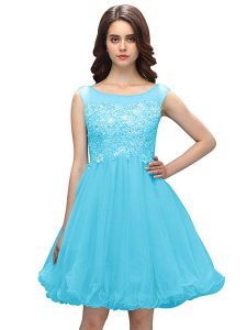 Modern Baby Blue Bateau Zipper Beading and Appliques Pageant Dress Wholesale Sleeveless