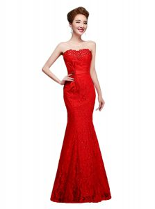 Cheap Mermaid Sleeveless Lace Floor Length Lace Up Evening Gowns in Red with Lace