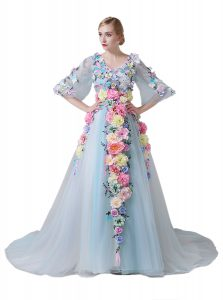 New Arrival Half Sleeves Tulle With Train Court Train Zipper Pageant Dress for Girls in Light Blue with Hand Made Flower