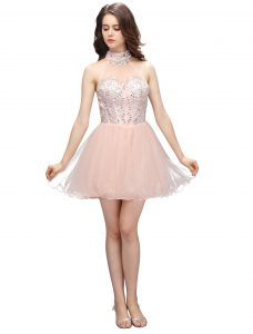 Mini Length Zipper Pageant Dress for Girls Baby Pink for Prom and Party with Beading