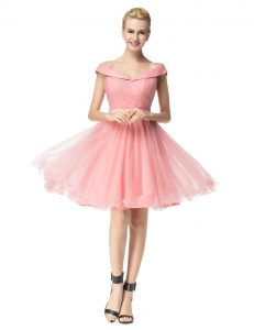 Fashion Tulle Off The Shoulder Cap Sleeves Zipper Belt Pageant Dress for Teens in Pink