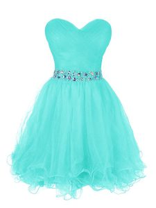High Class Organza Sweetheart Sleeveless Zipper Beading and Ruffled Layers Pageant Dress Wholesale in Turquoise
