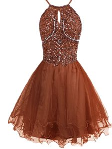 Dynamic Halter Top Mini Length Zipper Evening Gowns Brown for Prom and Party with Beading
