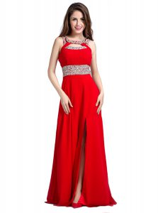 Noble Red Silk Like Satin Zipper Square Sleeveless Floor Length Pageant Dress for Womens Beading