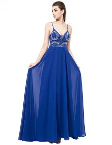 Stylish Royal Blue Backless Pageant Dress for Girls Beading Sleeveless With Train Sweep Train