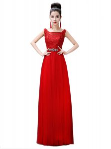 Excellent Red Empire Bateau Sleeveless Chiffon Floor Length Zipper Beading and Lace Pageant Dress for Teens