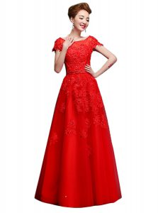 Pretty Floor Length Red Pageant Gowns Bateau Short Sleeves Lace Up