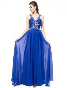 Top Selling Royal Blue Empire Chiffon V-neck Sleeveless Beading With Train Criss Cross Pageant Gowns Sweep Train