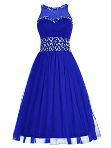 Customized Knee Length Royal Blue High School Pageant Dress Scoop Sleeveless Zipper