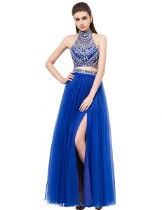 Floor Length Two Pieces Sleeveless Royal Blue Pageant Dress for Girls Criss Cross