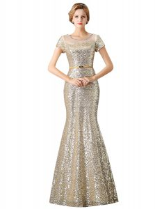 Mermaid Scoop Sleeveless Floor Length Sequins Zipper Pageant Dress Wholesale with Champagne