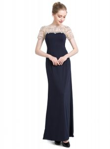 Chiffon Bateau Short Sleeves Zipper Beading Pageant Dresses in Black
