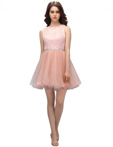 Pink Scoop Zipper Beading and Lace Pageant Dress for Girls Sleeveless