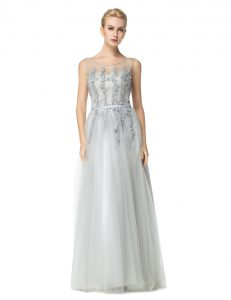 Graceful Silver Scoop Zipper Appliques Pageant Gowns Sleeveless