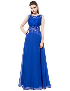 Shining Royal Blue Scoop Neckline Beading and Lace Pageant Dresses Sleeveless Zipper
