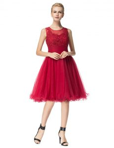Scoop Sleeveless Organza Knee Length Zipper Pageant Dress Toddler in Red with Lace