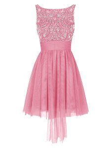 New Style Pink Empire Tulle Bateau Sleeveless Beading Mini Length Zipper Pageant Dress