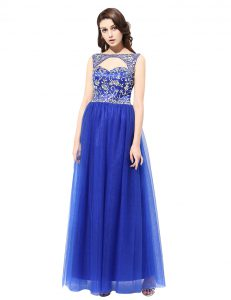 Bateau Sleeveless Pageant Gowns Floor Length Beading Blue Tulle
