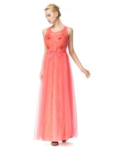 Perfect Watermelon Red Pageant Dresses Prom and Party with Beading and Bowknot Scoop Sleeveless Zipper
