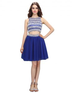 Inexpensive Scoop Royal Blue Sleeveless Chiffon Backless Pageant Dress for Womens for Prom and Party