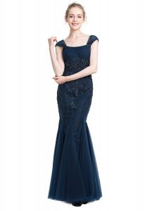 Top Selling Navy Blue Mermaid Square Cap Sleeves Tulle Floor Length Zipper Beading Custom Made Pageant Dress