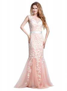 Excellent Scoop Lace and Appliques Pageant Dress for Teens Pink Zipper Cap Sleeves With Brush Train