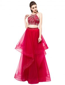 Classical Red Sleeveless Organza Zipper Pageant Dress for Teens for Prom and Party